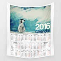 calendar Wall Tapestries featuring 2016 Calendar Baby Penguin by James Peart