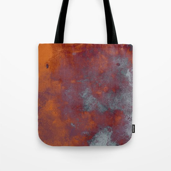 Cracked Amber - Textured abstract painting in amber and blue Tote Bag
