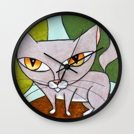 Sweet Gray Kitty Wall Clock