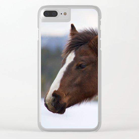 Tri-Colored Horse Clear iPhone Case