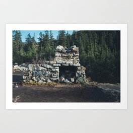 Cabin at Snow Lake Art Print