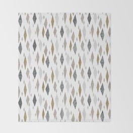 Danish Diamond Mid-Century Geometric Print Tan Throw Blanket
