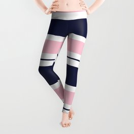 Blue Navy and Pink Stripes Leggings