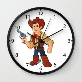 cowboy with revolver Wall Clock