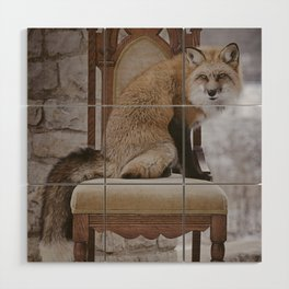 Fox on a Throne Wood Wall Art