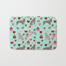 Chinese Crested valentines day cupcakes hearts gifts for unique dog breed owners love Bath Mat