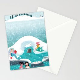 Mermaids having a picnic by a Norppa seal's nest and helping take care of her baby Stationery Cards
