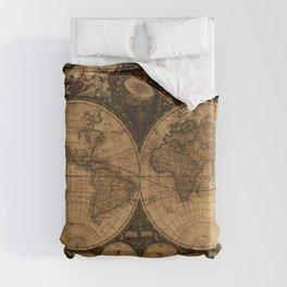 Nova Totius Terrarum Vintage Map Duvet Cover