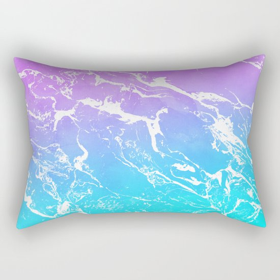 Modern summer purple blue ombre watercolor mermaid white marble Rectangular Pillow by Girly ...