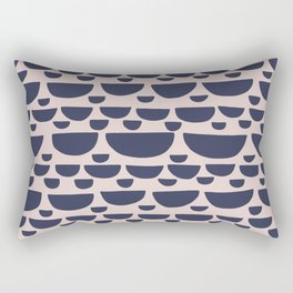 Half moon horizontal geometric print - Navy Rectangular Pillow