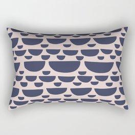 Half moon horizontal geometric print - Navy Rectangular Pillow
