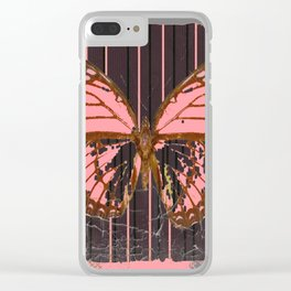 ANTIQUE GRUBY PINK BUTTERFLY ART Clear iPhone Case