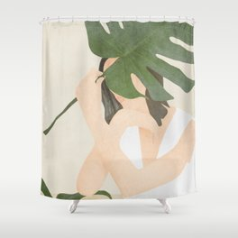 Under the Monstera Leaf Shower Curtain