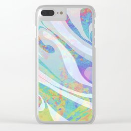 Abstract Colors Waves Design Clear iPhone Case