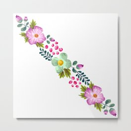 Posy ORCHID - Violet, Green AND Blue Flower Metal Print