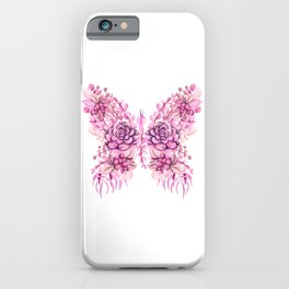 Flowery Pink Princess Butterfly iPhone Case