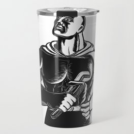 Superhero Plumber With Wrench Woodcut Travel Mug