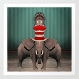 Cojoined Elephants Art Print
