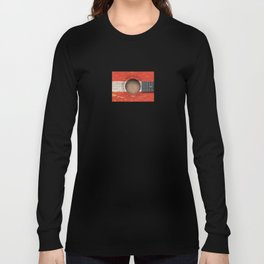 Old Vintage Acoustic Guitar with Austrian Flag Long Sleeve T-shirt