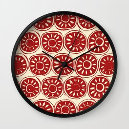 flower block red ivory Wall Clock