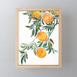 orange watercolor Framed Mini Art Print