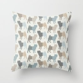 Pugs Pattern - Natural Colors Throw Pillow