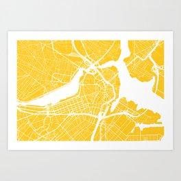 Yellow City Map of Boston, Massachusetts Art Print