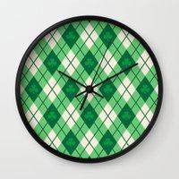 irish Wall Clocks featuring Irish Argyle by Fimbis