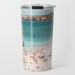 Summer Beach Vibes (one) - retro aerial beach by Ingrid  Beddoes Travel Mug