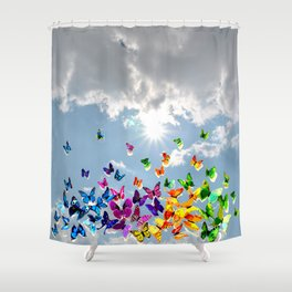 Butterflies in blue sky Shower Curtain