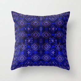 N128 - Royal Blue Traditional Oriental Moroccan Style Design  Throw Pillow