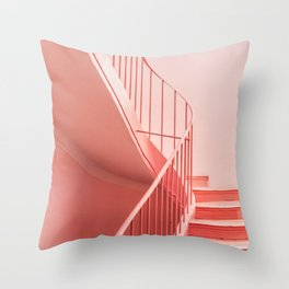 Pink steps | Pastel colored staircase in Cannes France | Travel architecture photography Throw Pillow