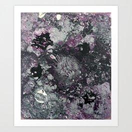 Black Silver White Purple Pattern Art Print