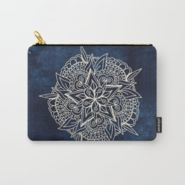 Cream and navy mandala on indigo ink Carry-All Pouch