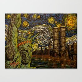NYC Starry Night: Twin Towers (The True Towers) Canvas Print