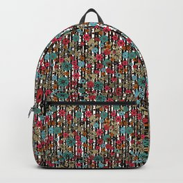Floral pattern on black and white striped background Backpack