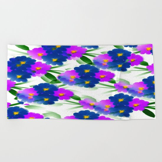 Abundance Of Painted Flowers Beach Towel
