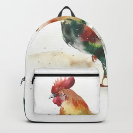 Symbol of the year, watercolor rooster, cock, cockerel Backpack