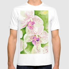 Fuschia Orchid MEDIUM Mens Fitted Tee White
