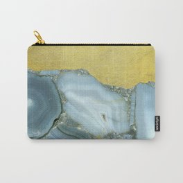 Gold and Grey Marble Agate Slices Crystal Geode Abstract Boho Art Carry-All Pouch
