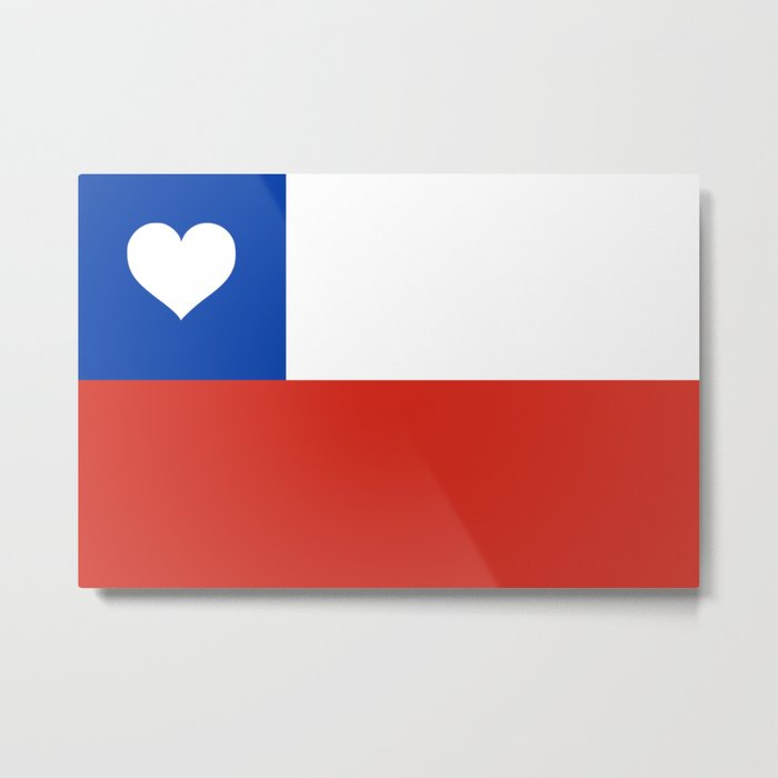 Texas State Flag with Heart Metal Print