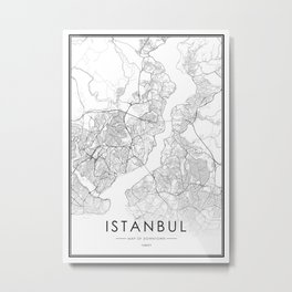 Istanbul City Map Turkey White and Black Metal Print