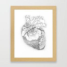Anatomy Series: Myocardial Heart Mandala Flowers Framed Art Print