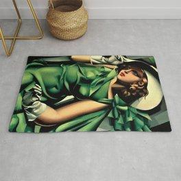 Girl in a Green Dress Art Deco Haute Couture portrait painting Tamara de Lempicka Art Print Rug