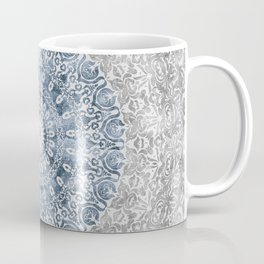 New Vintage Floral Mandala Ink Blue Coffee Mug
