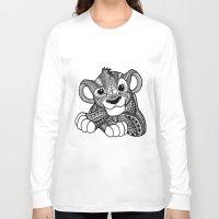 simba Long Sleeve T-shirts featuring Zentangle Simba by ElFineLines