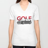 volkswagen V-neck T-shirts featuring Volkswagen Golf Mk4 by Vehicle