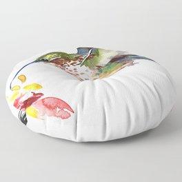 Hummingbird and Flower Floor Pillow