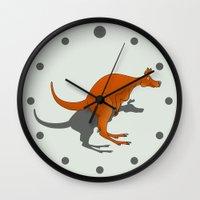 kangaroo Wall Clocks featuring Kangaroo by mailboxdisco