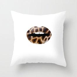 Giraffe Pattern Lips Giraffe Print Fur Print Mouth Animal Print Throw Pillow